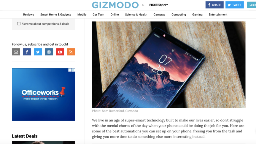 Gizmodo's 8 Things You Should be Automating on your Smartphone